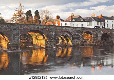 Stock Image of The 12th century Wye Bridge over the River Wye.