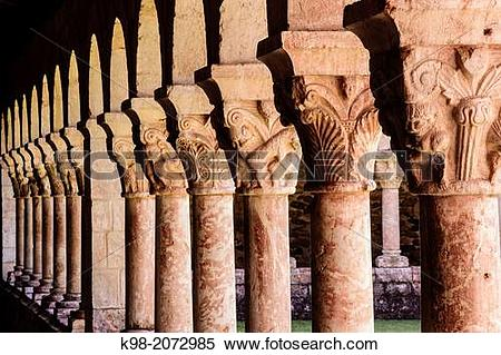 Stock Image of Columns and capitals, 12th Century cloister of.