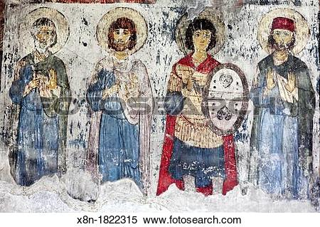 Stock Image of Mural painting in Church of the Dormition 12th.