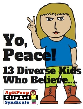 Diverse ClipArt of Kids Flashing Peace Sign.