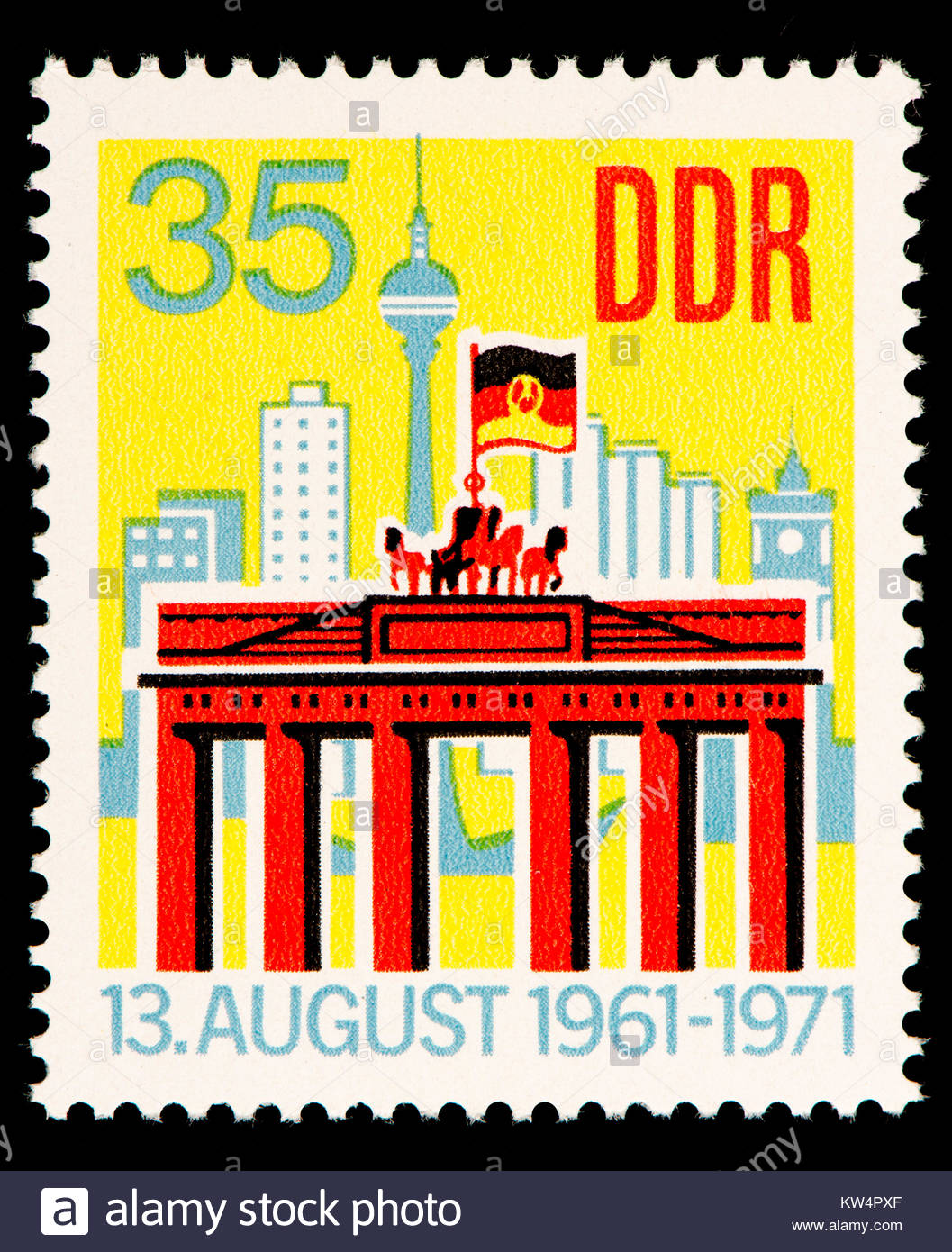 East German (DDR) postage stamp (1971): Ten years of the Berlin Wall.