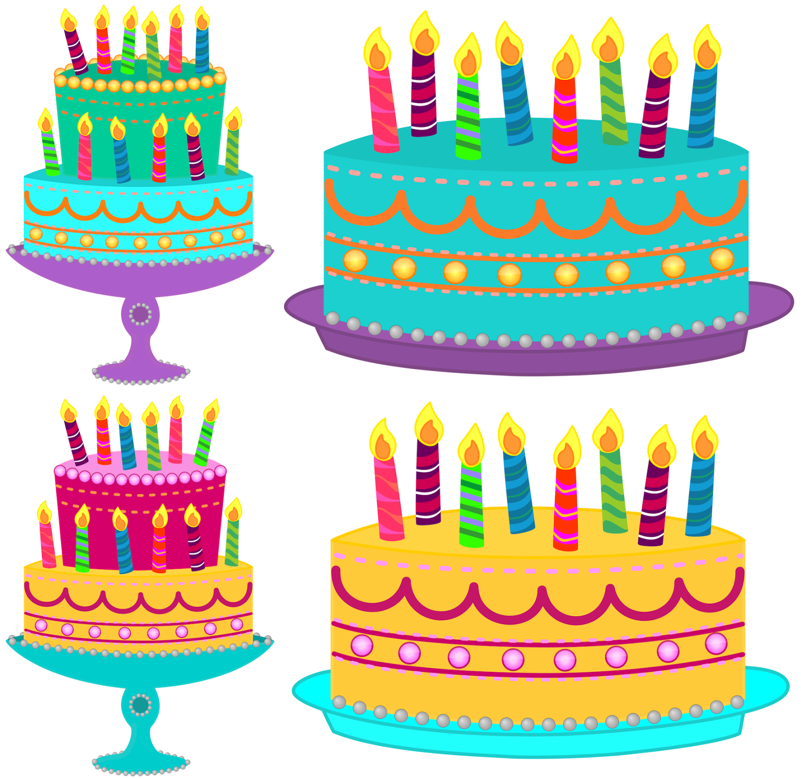 July Birthday Cake Clipart Blue cake with no candles.