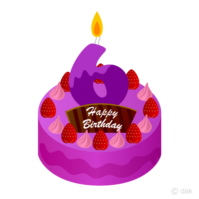 Free 6 Years Old Candle Birthday Cake Clipart Image|Illustoon.