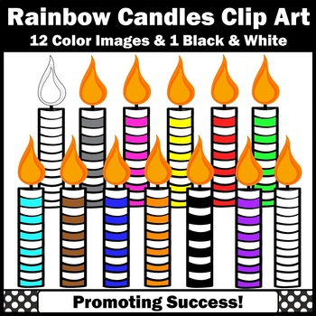 Birthday Candles Clipart Primary Colors Commercial Use SPS.