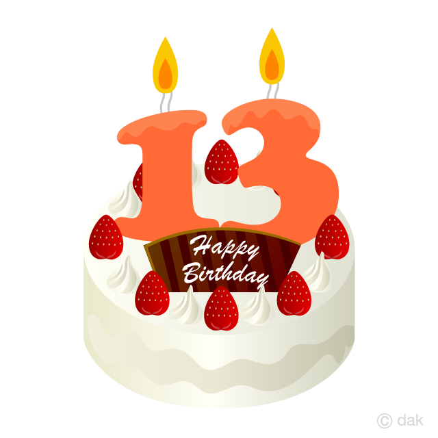 Free 13 Years Old Candle Birthday Cake Clipart Image|Illustoon.