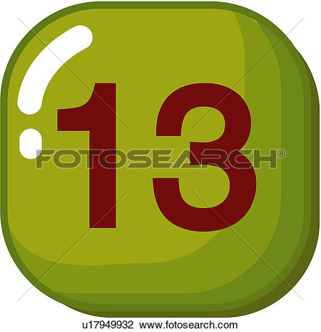 Clipart of number, icon, logo, thirteen, sign, 13 u17949932.