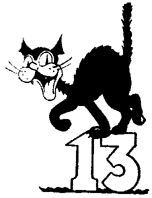 Number 13 clipart bw.