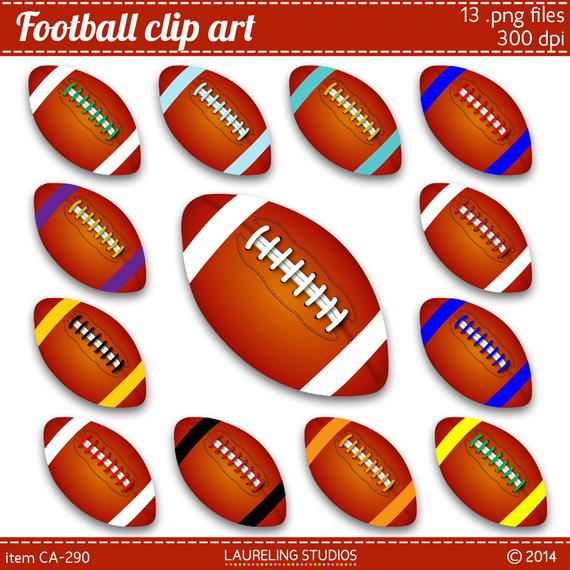 Items similar to football clipart, 13 clip art footballs in team.