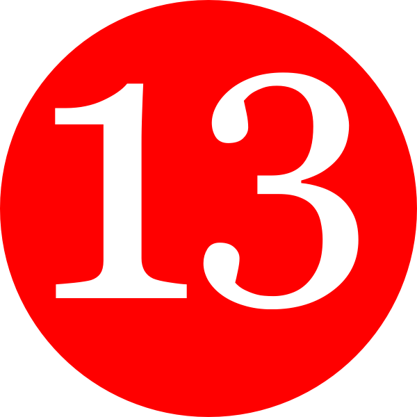 Red, Rounded,with Number 13 Clip Art at Clker.com.