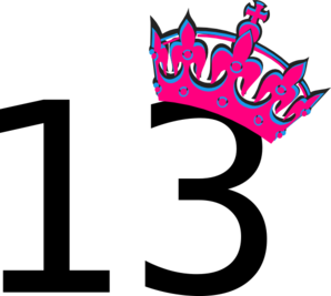 Pink Tilted Tiara And Number 13 clip art.