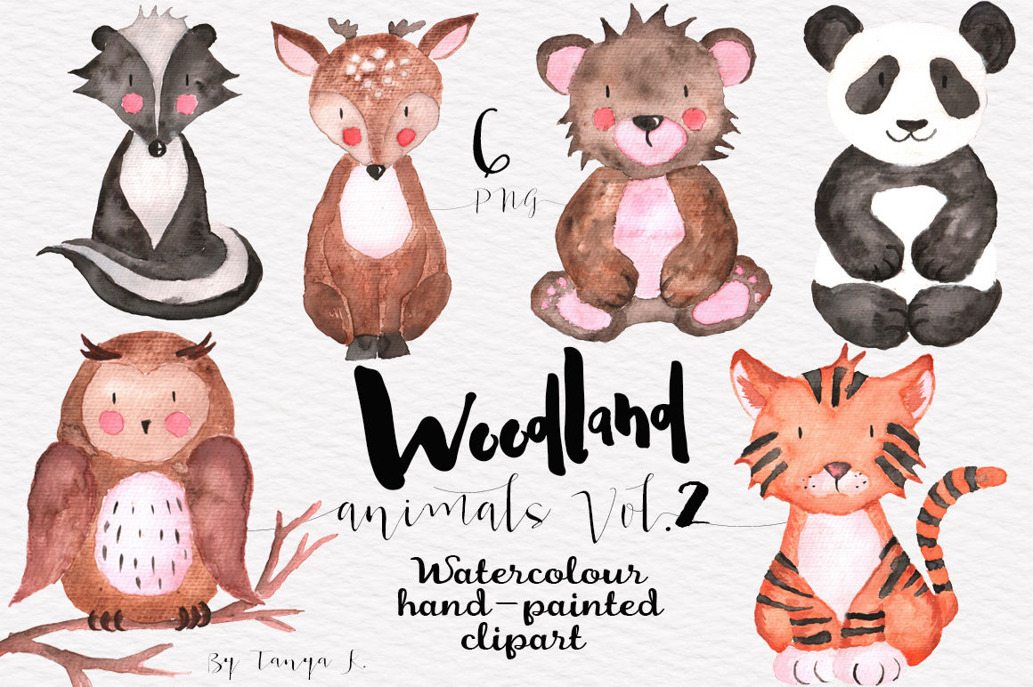 Woodland Animals Vol.2 Watercolor Set By Tanya Kart.
