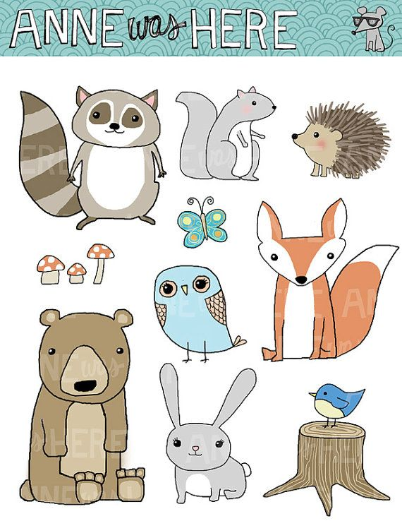 Woodland Critter Doodles Digital Clipart Pack.