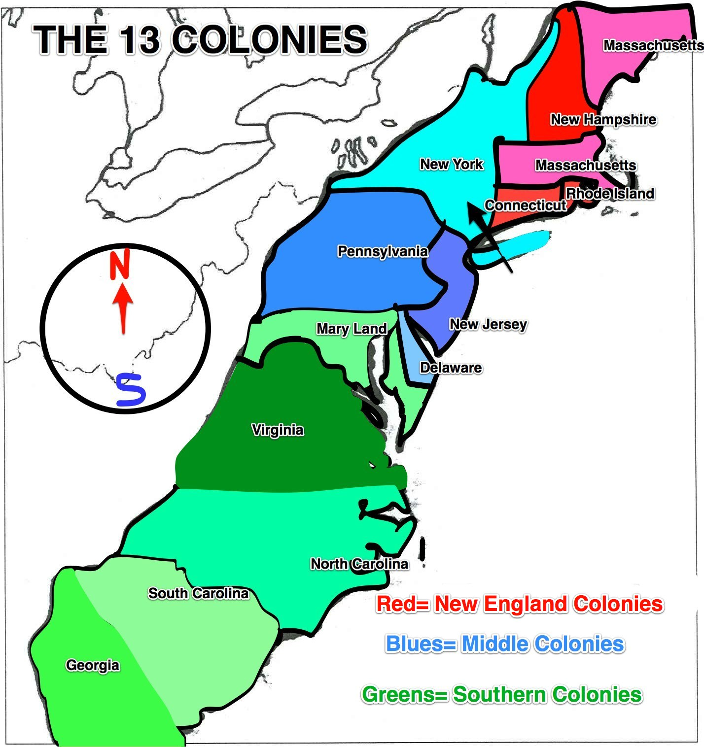 The 13 Colonies Clipart.