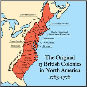Clip Art: United States History: Original 13 North American British.
