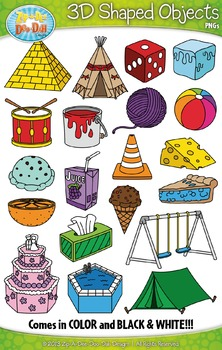 3D Real World Shaped Objects Clipart {Zip.
