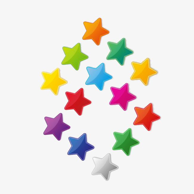 13 Colored Stars PNG, Clipart, 13 Clipart, Abstract.