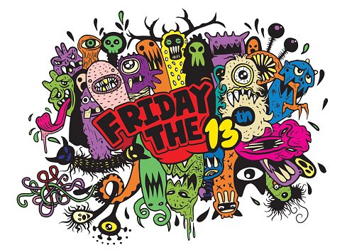 Friday 13 grunge illustration with doodle ghost background.