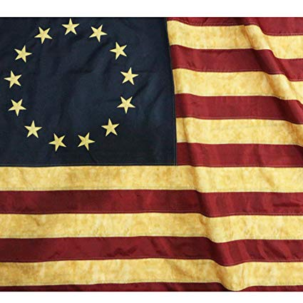 Anley Vintage Style Tea Stained Betsy Ross Flag 3x5 Foot Nylon.