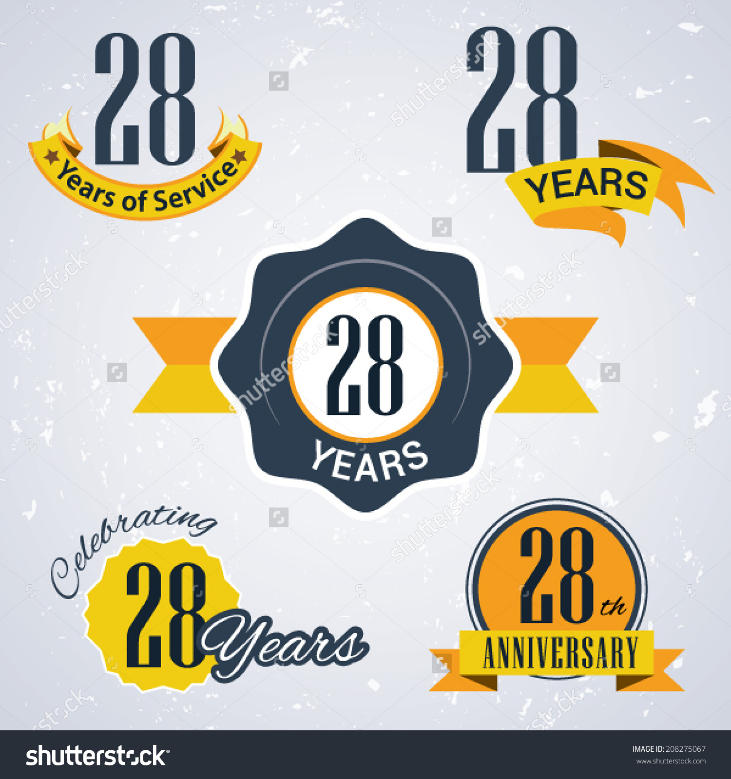 28 Years Service 28 Years Celebrating Stock Vector 208275067.