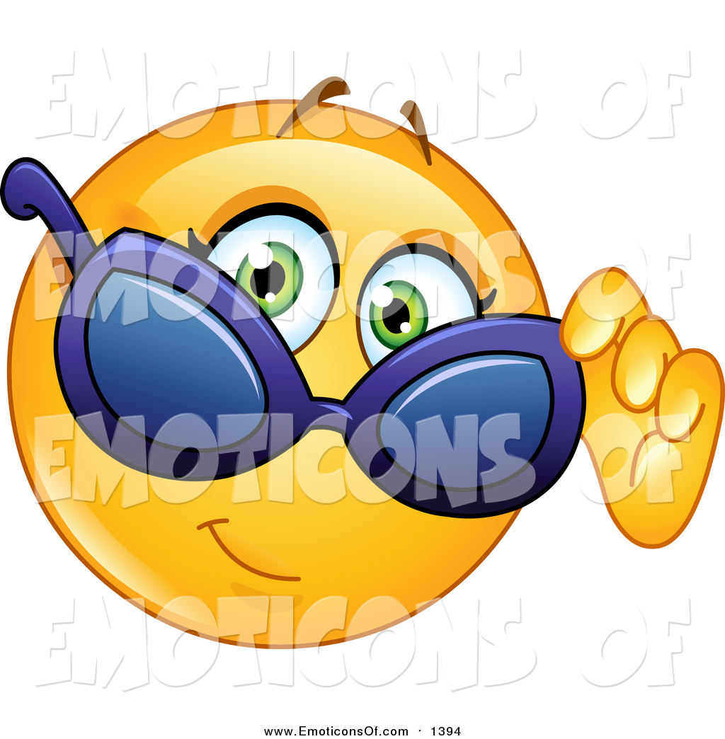 Clip Art Vector Cartoon of a Cool Emoticon Looking over Sunglasses.