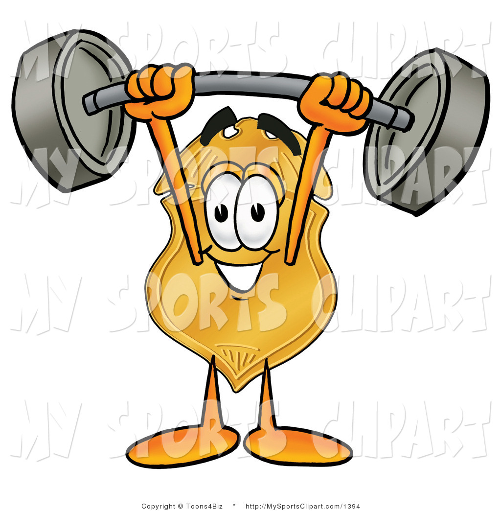 Sports Clip Art of a Strong Badge Mascot Cartoon Character Holding.