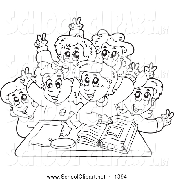 Clip Art of a Black and White Group of School Children Raising.