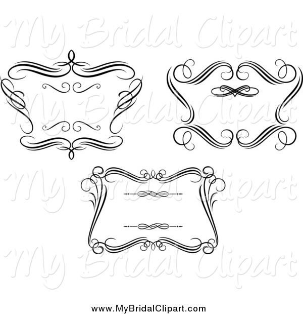 Bridal Clipart of Black and White Swirl Wedding Frames by Vector.