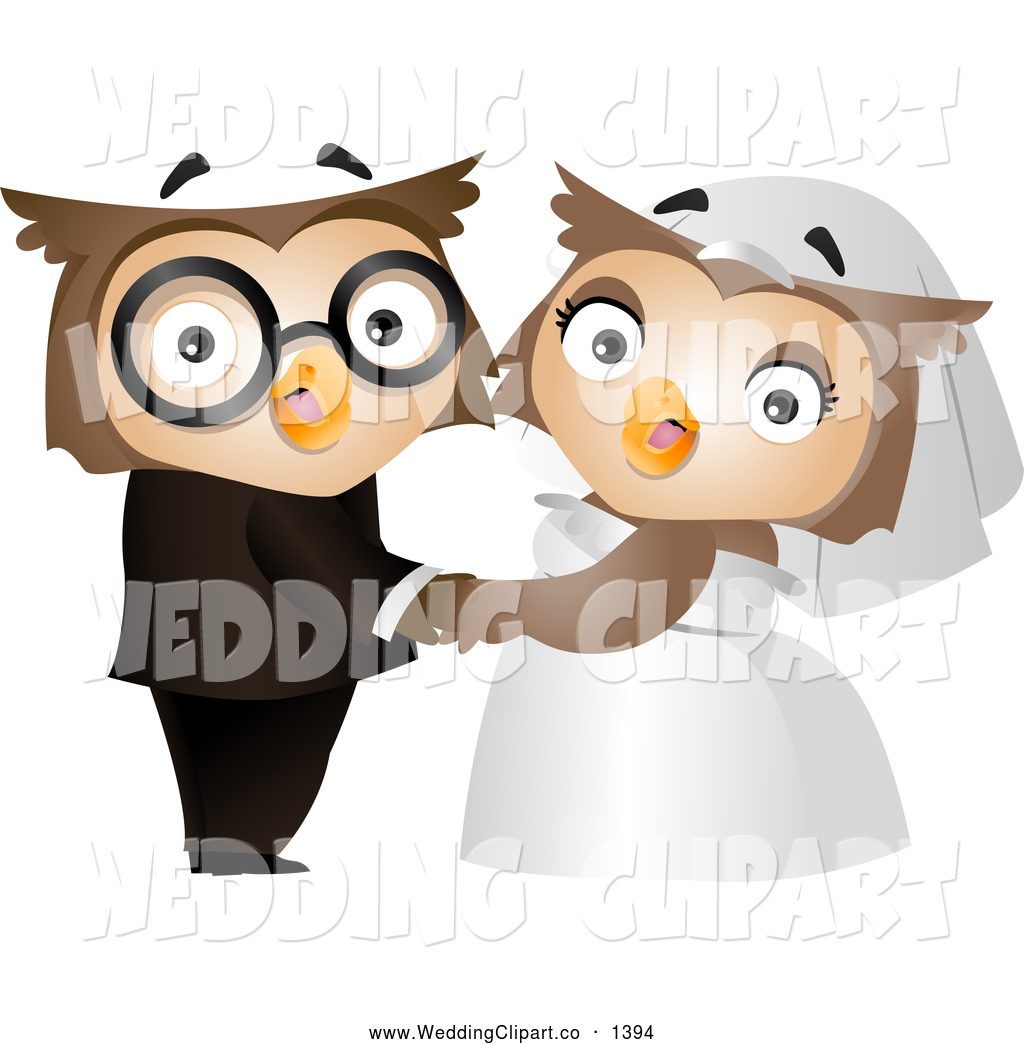 Vector Cartoon Marriage Clipart of a Cute Bride and Groom Owl.