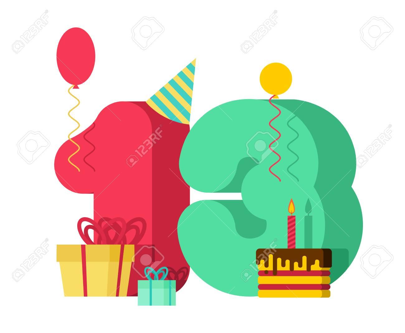 13 year greeting card Birthday. 13th anniversary celebration...
