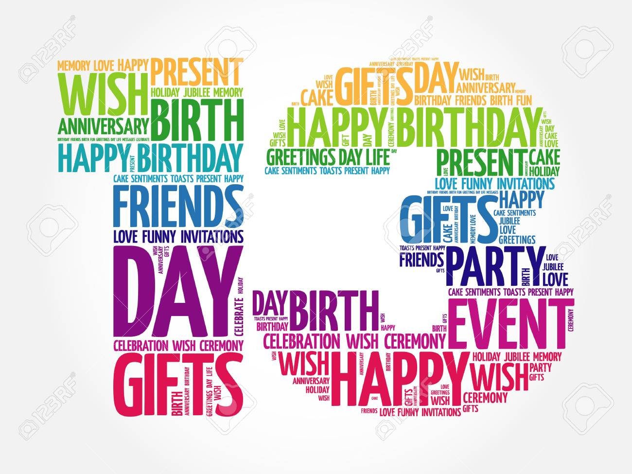 Happy 13th birthday word cloud collage concept.
