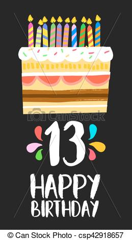 Happy Birthday cake card 13 thirteen year party.