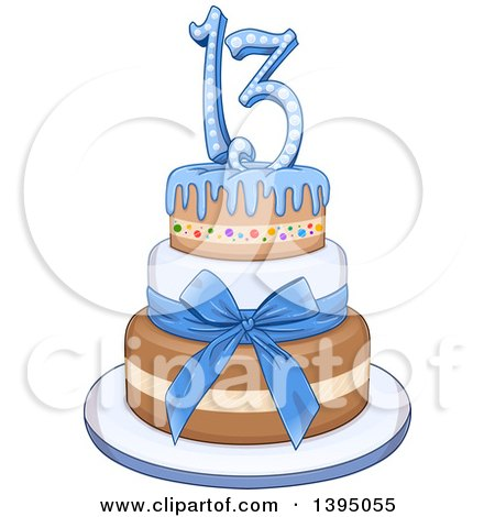 Clipart of a Blue Bar Mitzvah Birthday Cake with a Bow.