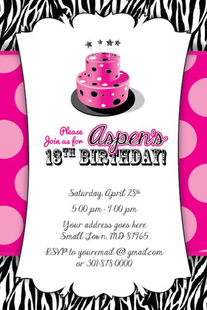 Zebra Print Cake Invitation 13th Birthday Party Baby Shower 16th 1st Hot  Pink.