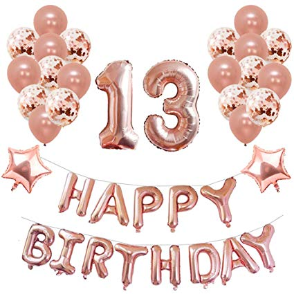 Yoart 13th Birthday Decorations Rose Gold for Girl Birthday Party Supplies  39 Piece with Happy Birthday Banner Confetti Latex Balloons Star Foil.