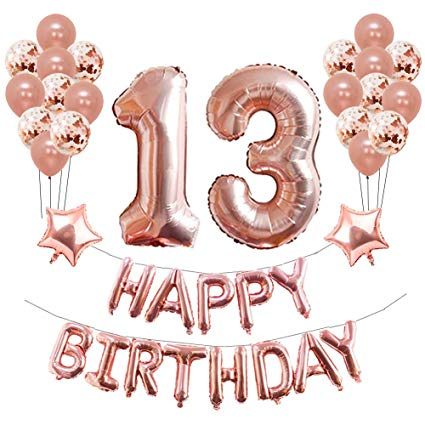 13th Birthday Party Decorations, Puchod 13th Foil Balloons Birthday Party  Decorations Banner Supplies Set Rose Gold Confetti Balloons for Girls.