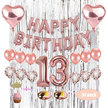 "Kwayi 13th Birthday Party Decoration, Girl 13th Birthday Party Supplies  with 32"" Number 1 & 3 Silver Curtain Rose Gold Confetti Balloon Cake  Toppers."