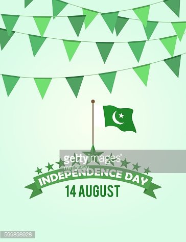Pakistan Independence day buntings Clipart Image.