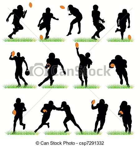 Vector Illustration of 14 American Football Silhouettes Set.