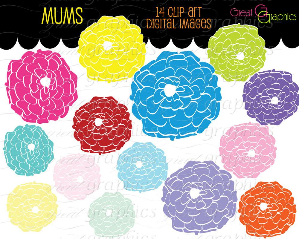 Flower Clipart Flower Digital Clip Art Flower Printable Digital Clipart  Flowers Party Clipart Invitation Clip Art.