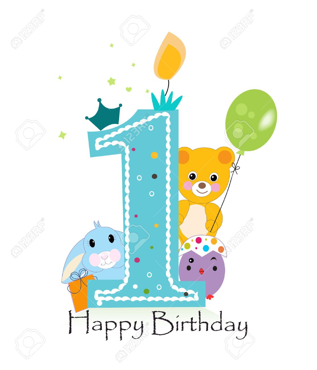 Happy 1st Birthday Boy Clipart.
