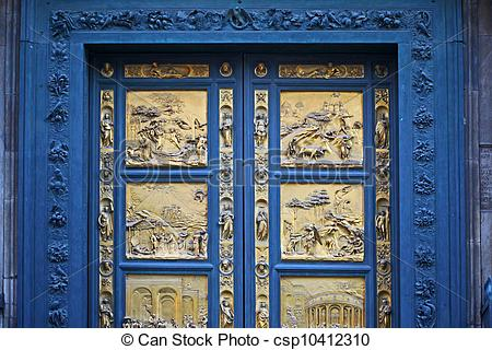 Stock Photography of Ghiberti Paradise Baptistery Bronze Door.