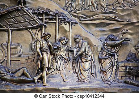 Stock Photo of Ghiberti Paradise Baptistery Bronze Door Duomo.