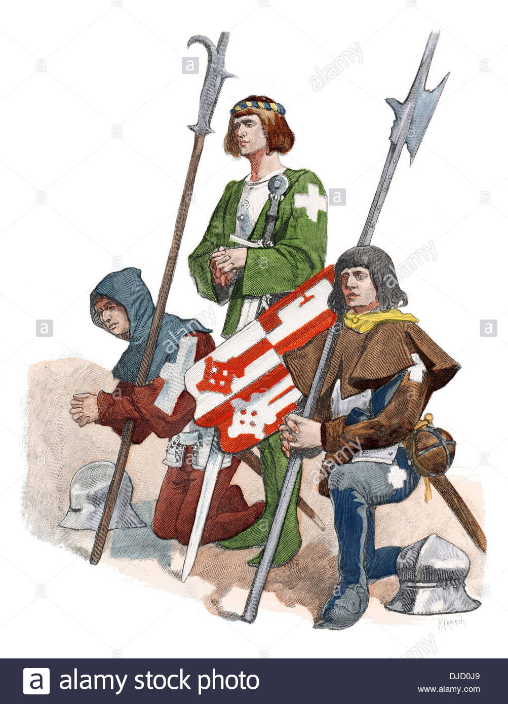 15th Century Xv 1400s Swiss Soldiers Stock Photo, Royalty Free.