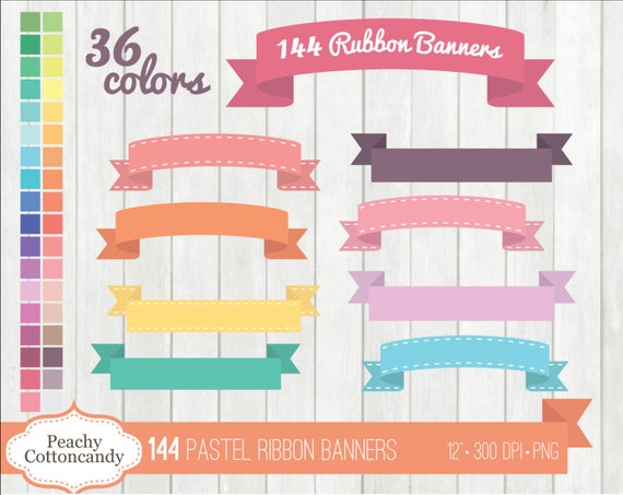 BUY 2 GET 1 FREE 144 Pastel Digital Ribbon Banners Clipart.
