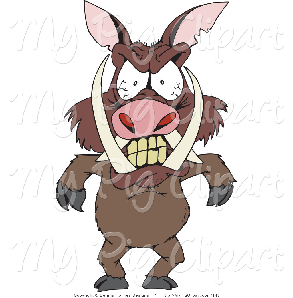Swine Clipart of an Angry Boar with Tusks and Blood Shot Eyes.