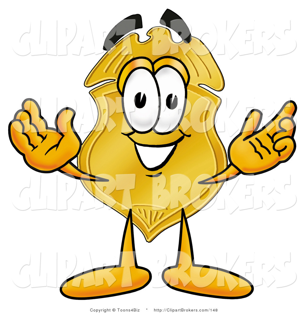Clip Art Cartoon of a Police Badge Mascot Cartoon Character with.