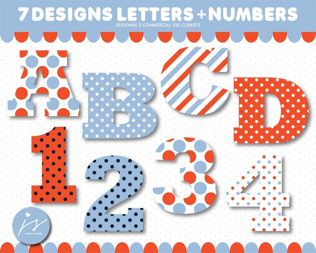 Dark orange and blue alphabet CLIPART letters and numbers with polka.