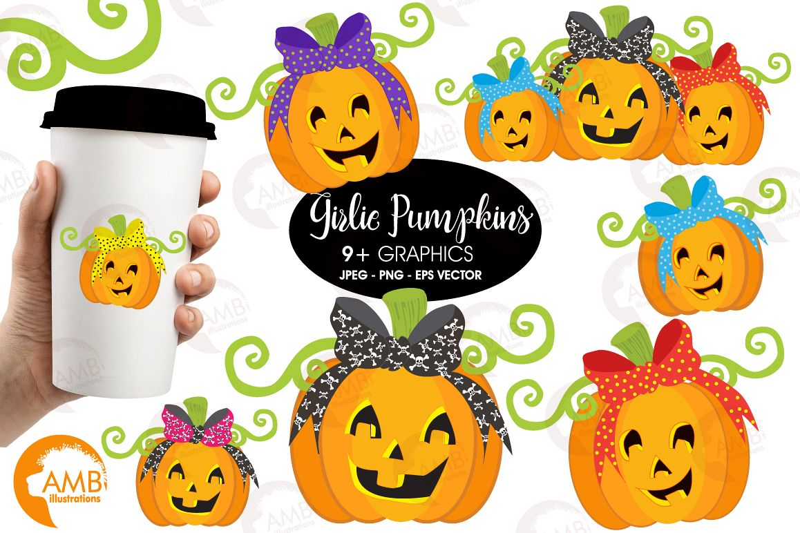 Girlie Pumpkins clipart, graphics and illustrations AMB.