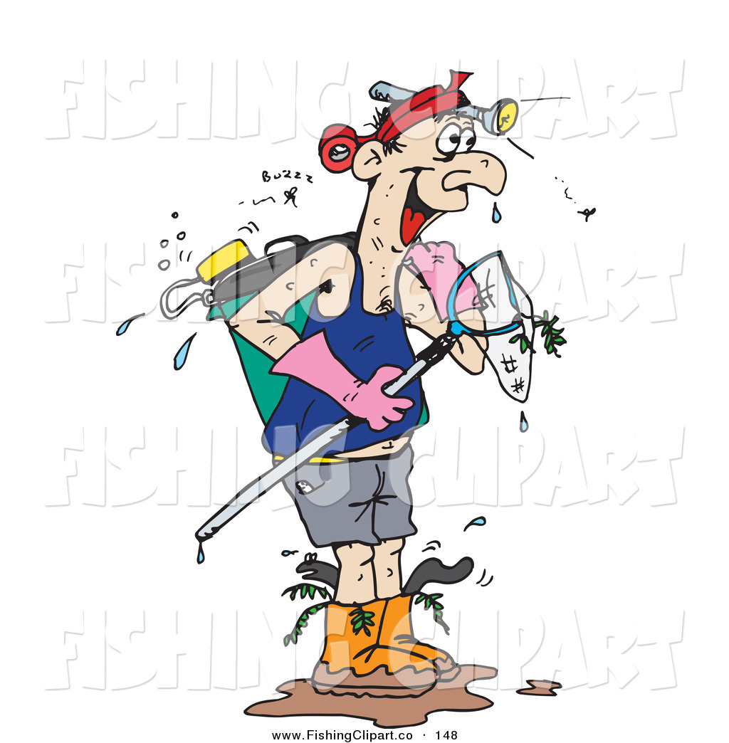 Clip Art of a Dripping Wet Man Carrying a Fish Net and Wearing a.