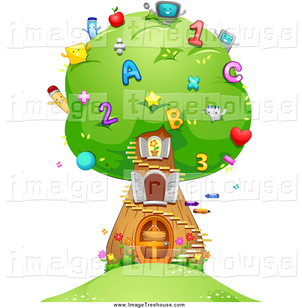 Clipart of a Number and Letter School Tree House by BNP Design.